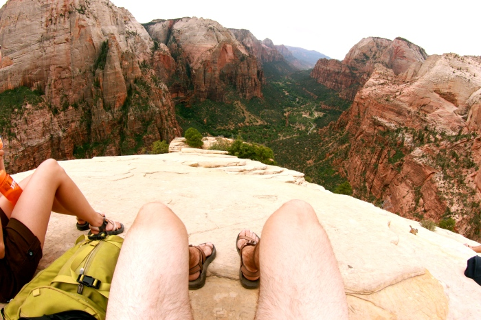 Short shorts atop Angel's Landing